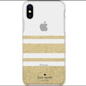 kate spade iPhone XS Max Gold Glitter Stripe Case